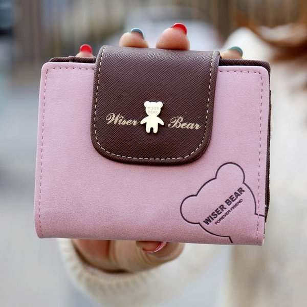 2017 Hot Selling! Women Cute Bear Short Wallet Mini Change Purse Hasp Cartoon Money Bag For Girl Nice Gift for Lady Clutch