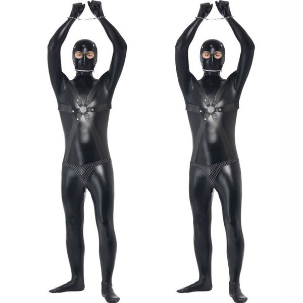 best selling New Faux Leather Zentai for Tall Men Sexy Gay Catsuit Male Fetish Body Harness Costume Sex Restraint Teddy Sexy Unitard Clothes