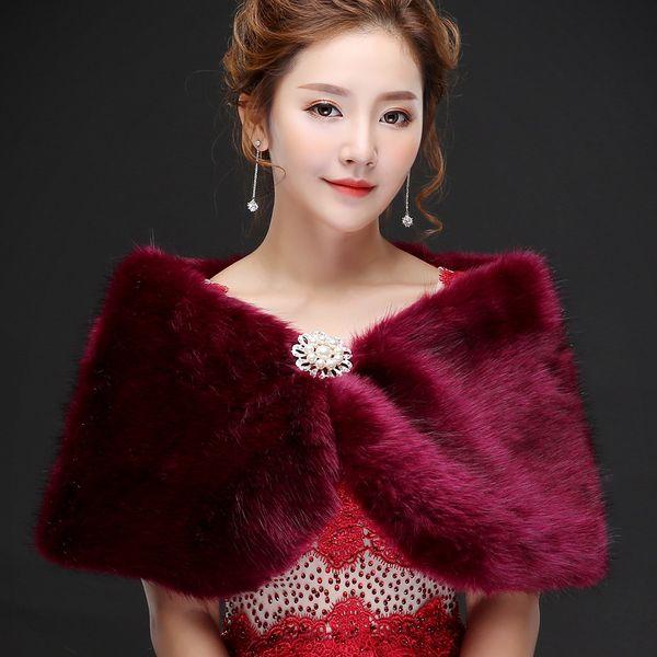 Jane Vini Elegant Women's Grape Party Prom Shawl Formal Bridal Jackets For Winter Wedding Faux Fur Bolero Wraps Capes With Crystal Pin 2018