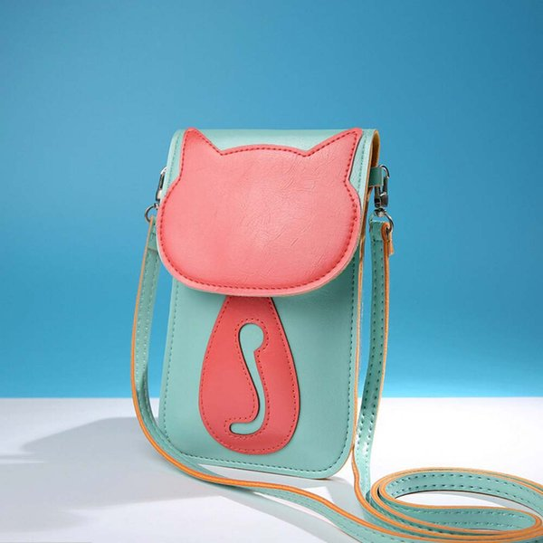 Wholesale- Crossbody shoulder bags 2016 Cute Cartoon Purse Bag PU Leather Cross Body Shoulder Phone Coin Bag 5 Candy Color Free shipping