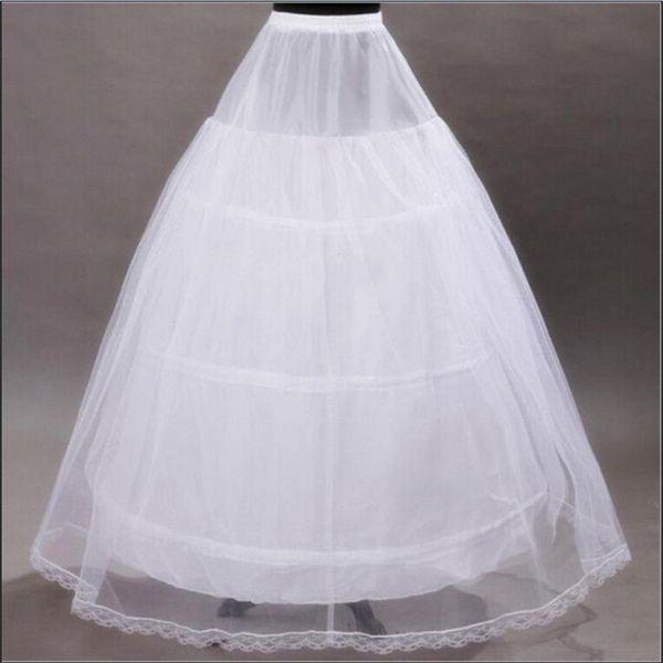 2017 Brand New Petticoats White 3 Hoops Bone Full Underskirt for Bride Formal Dress Stock Wedding Accessories Ball Gown Skirt Crinoline