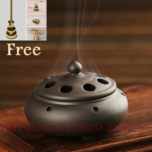 Queimador de Incenso de Cerâmica chinesa Handmade Antique Burner Forno de Sândalo Com um Suporte de Incenso de Bronze Home Decor Frete Grátis