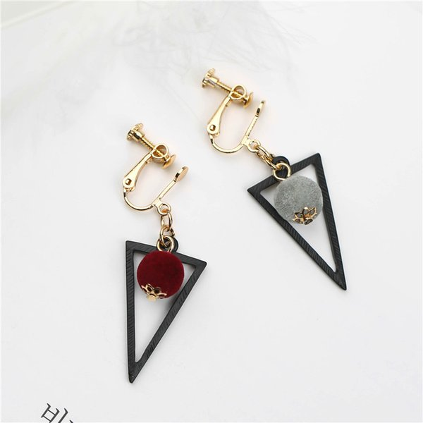 XS New No Ear Pierced Clip On Earring Personality Velvet Ball Hollow Out Geometric Asymmetric Triangle Earrings MS002