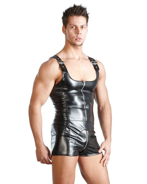 LZYAA PU Leather Men Sexy Playsuit Faux Latex Male Erotic Jumpsuit Club Stage Costume Gays Sex Lingerie Adult Products