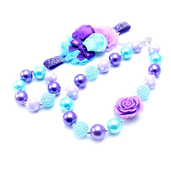 Fashion Design Necklace&Bracelet Headband 3PCS Set Birthday Party Gift For Toddlers Girls Bubblegum Baby Kids Chunky Necklace Jewelry Set