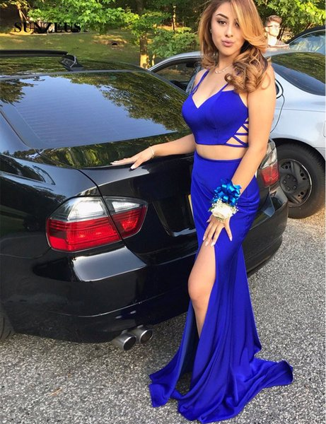 Two Pieces Royal Blue Prom Dress 2017 Sweetheart Back Straps Cross Sexy Girls Graduation Dresses Gowns Leg Slit Party Dress balo elbise