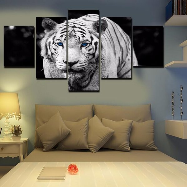 Unframed 5 pcs/set Blue-eyed White Tiger Canvas hand-painted Oil Painting On Canvas Home Decor Art Wall Picture For Living Room