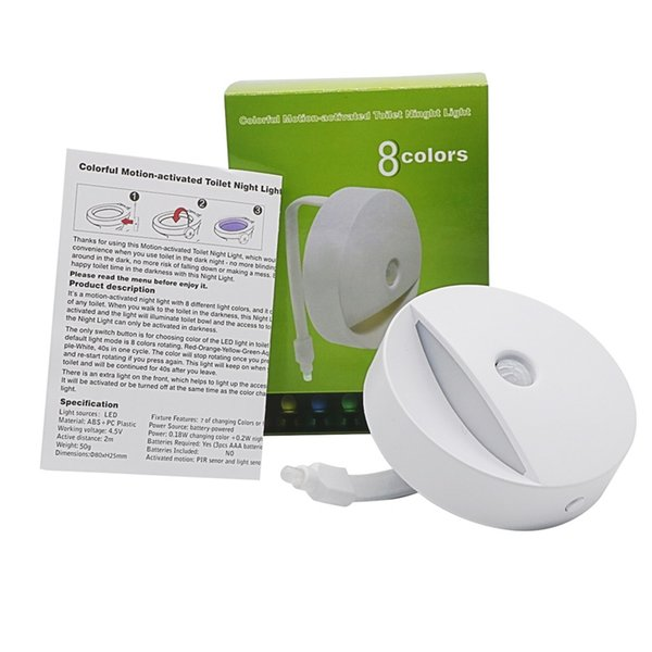 Intelligentes WC-Nachtlicht-LED-Bewegungs-Auto-Sensor aktivierte Badezimmer mit 8 Farbwechsel-batteriebetriebenem Waschraum