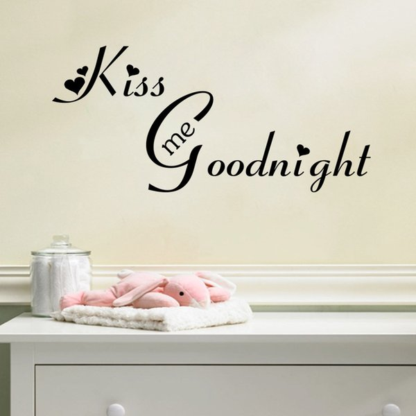 Kiss Me Goodnight English Alphabet Wall Stickers Living Room - Custom vinyl wall decals large   how to remove