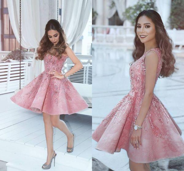 2018 новый Дубай румяна розовый Homecoming платья vestidos V шеи без рукавов линия осень выпускные платья бисер короткие коктейльные платья