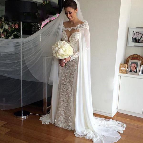 Elegant 2019 Wholesale 115'' Chiffon Wedding Wraps Appliques Lace Long Bridal Cloak Lace Bridal Wedding Cape