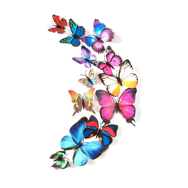 12PCs/Lot PVC Butterfly Decals 3D Wall Stickers Home Decor Poster For Kids Room Fridge Magnet Stickers
