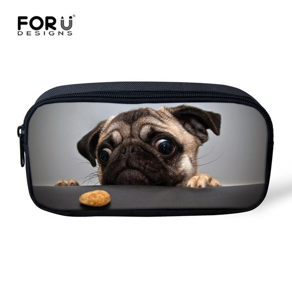 Wholesale- FORUDESIGNS Kawaii Women Make up Cases Cosmetic Bags Animal Pug Dog Cat Pencil Pouch Child Girls Boys Stationery School Suppli