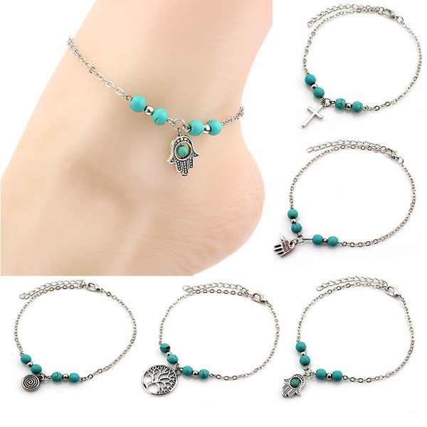 top popular 6 Styles Bohemian turquoise Anklets women beach foot chains cross Tree Turtles conch Fatima's hand Anklet For ladies Fashion Jewelry 2019