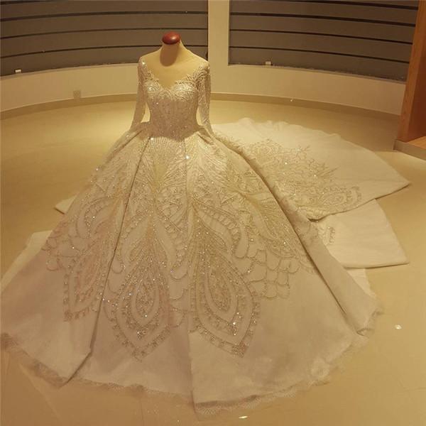 Michael Cinco Real Photo Cristal de Manga Longa Vestidos de Casamento 2018 Luxo Frisado Catedral Trem Dubai Árabe Vestido de Baile Vestido De Noiva