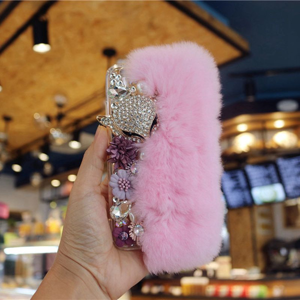 For Samsung galaxy grand prime G530 j3 j5 j7 2016 2017 prime Korea Luxury Pearl Flower Love Diamond Fox Furry pendant soft case