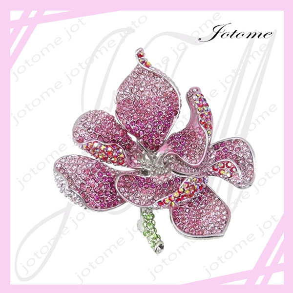 100PCS/Lot 2017 Women's Austrian Crystal Valentines' Gifts Orchid Flower Petal Brooch for lover, girlfriend, mother