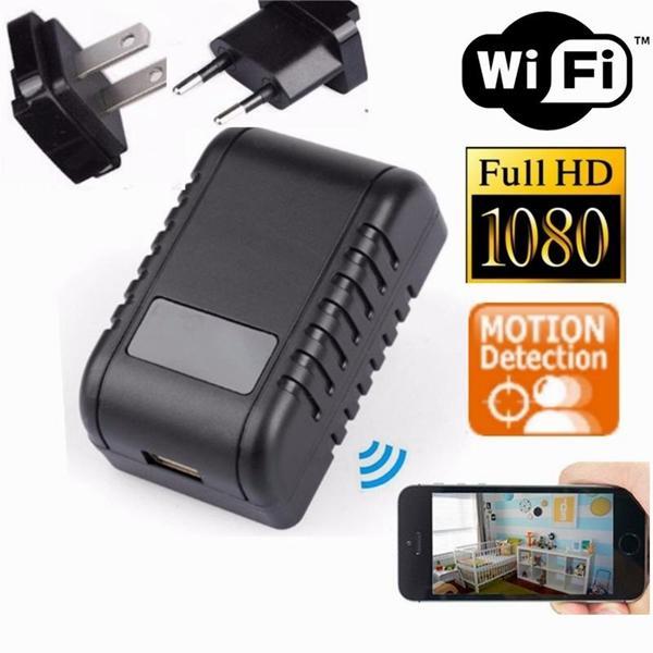 HD 1080 P WIFI Cargador P2P Cámara IP UE EE. UU. Enchufe Adaptador de CA mini cámara cargador usb videograbador inalámbrico de seguridad para el hogar Nanny Cam