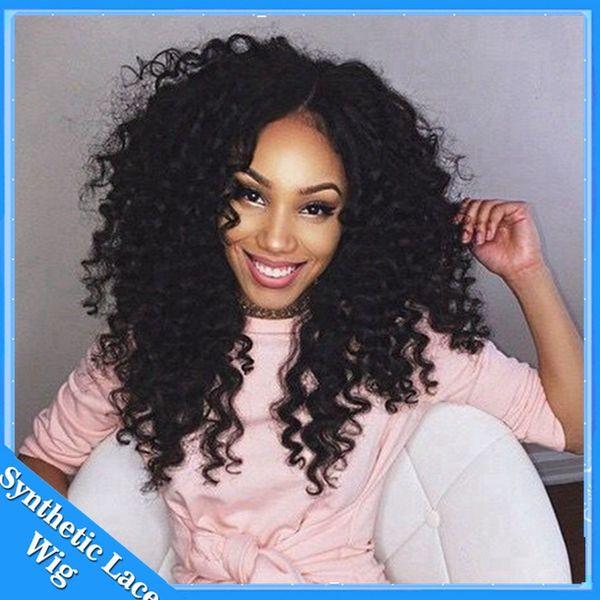 Afro-amerikan Peruk Fiber Kısa Afro kinky Kıvırcık Saç Peruk Sentetik Dantel Ön Kısa Peruk Siyah Kadınlar Için Dantel Ön Saç Peruk Stokta