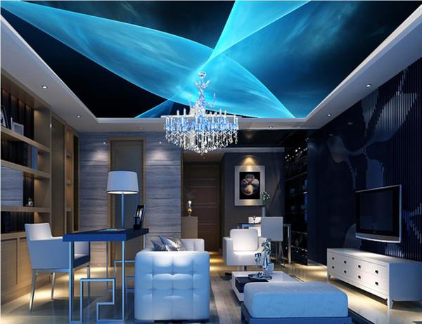 Europäische Stil Decke Wandbilder wallpaper Blaue dynamische Linien abstrakte 3d stereoskopische Decke Tapeten für Wohnzimmer Fototapete
