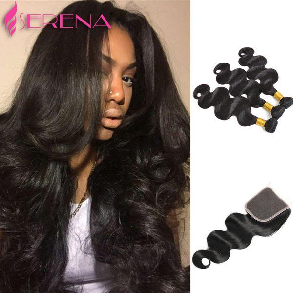Queen Hair High quality 4pcs lot Natural Color #1B body wave Malaysian virgin hair weave, 3Pcs Hair Bundle + 1Pc Lace Closure