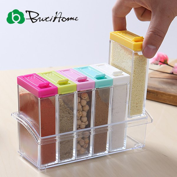 Wholesale- Spice Jar Seasoning Can Sugar Bowl Transparent Colorful Lid Seasoning Box 6pc/set Kitchen Tool Salt Condiment Cruet Storage Box