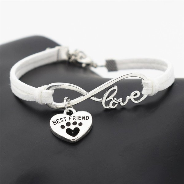 Fashion Women's Antique Silver Bangles Leather Animals Dogs Love Cat Animal Bear Paws Charms Pendant Love Bracelet Best Gift For kids