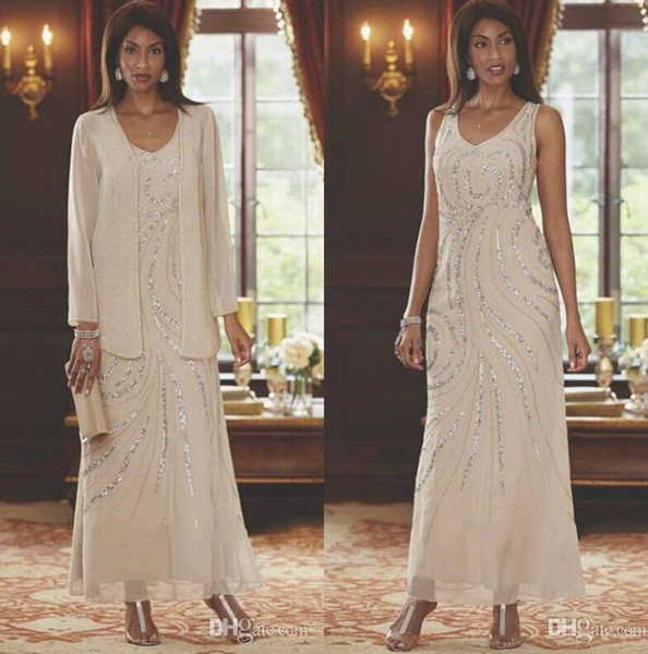 best selling Elegant Hottest Selling Mother of the Bride Dresses With Jacket Beaded Ankle Length 2018 Wedding Guest Dress for Mother Mother's Dresses