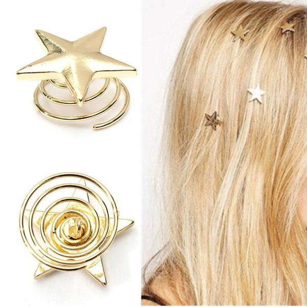 Vente en gros- Épingles à cheveux Unique Mode Femmes Dame Belle Étoile Or Swirl Épingles À Cheveux Clip Épingle À Cheveux Barrettes Cadeau