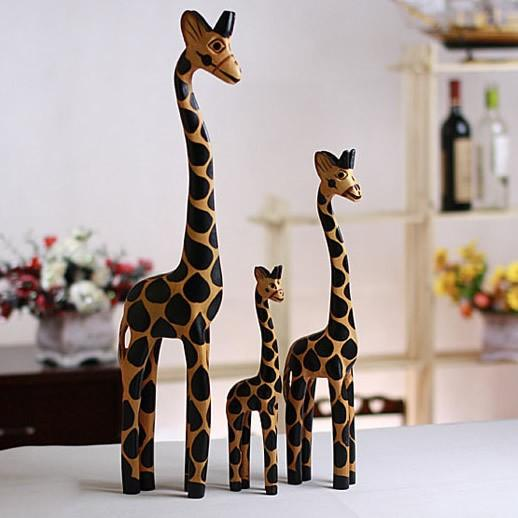 3PC/Set Vintage Nordic Log Craft Gift Giraffe Hand-Painted Animal Wooden Ornaments Home Decoration Wood Art Printing Craft Wood Toy