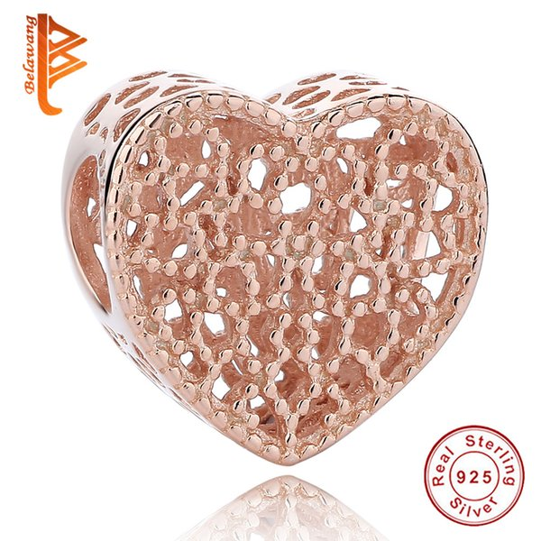 BELAWANG Rose Gold Charm 925 Sterling Silver Big Hole Beads Hollow Heart Charm Beads fit Pandora Bracelet&Necklaces for Best Jewelry Gift