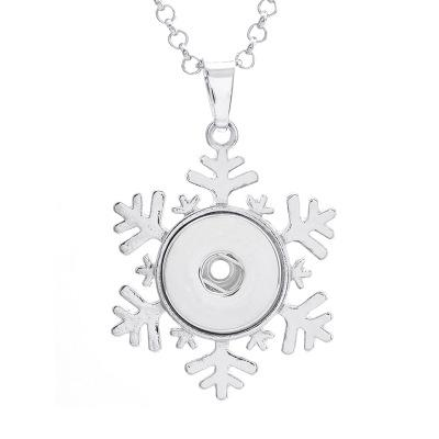 5PCS Silver Snowflake Button Snaps Necklace Pendant For 18MM Ginger Snap Jewelry