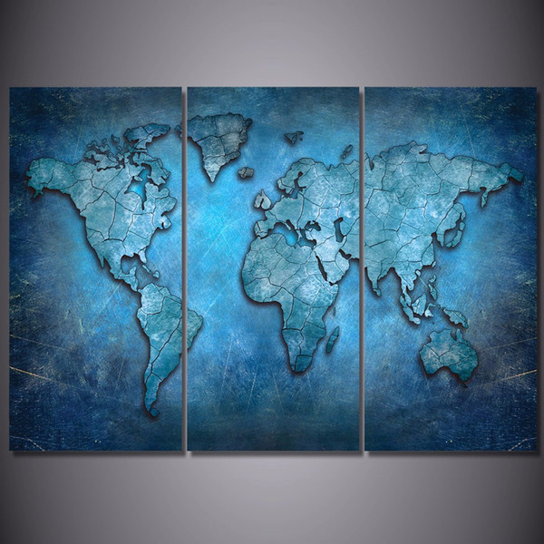 3 Pcs/Set Framed HD Printed Blue Abstract World Map Picture Wall Art Canvas Print Decor Poster Canvas Oil Painting