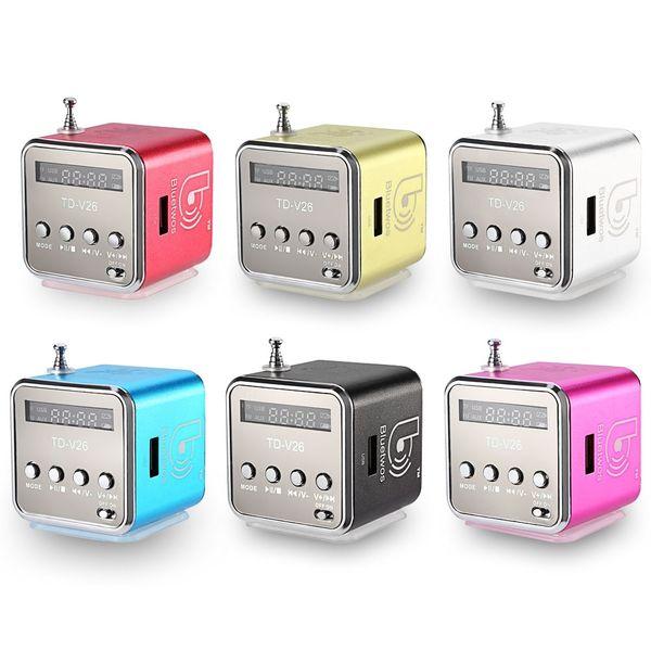 Wholesale- Bluetwo TD-V26 Mini Speaker Portable Digital LCD Sound Micro SD/TF FM Radio Music Stereo Loudspeaker For Laptop Mobile Phone MP3