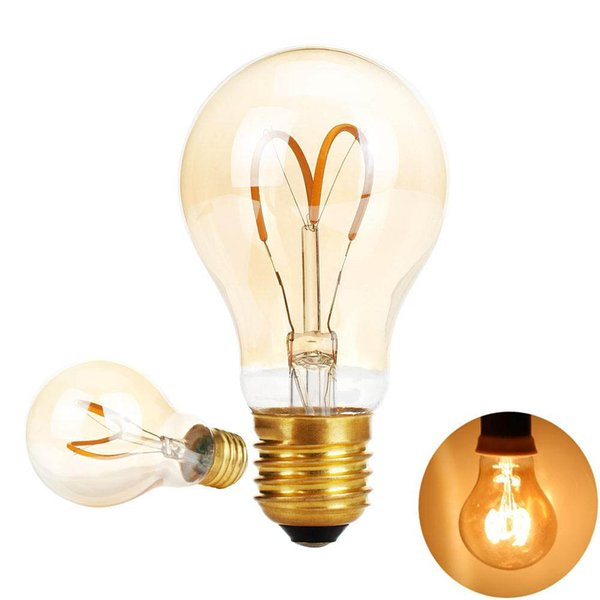 Amaber Glass A19 Vintage Edison LED Bulb Antique Flexible LED Filament Light For Decorate Home-Dimmable 4W E26 Screw Base WARM White 2200K