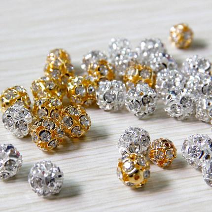 100pcs/lot Alloy Crystal Beads 8mm/10mm Gold/Silver Round Pave Disco Ball Beads Rhinestone Crystal Spacer Beads for DIY Jewelry Findings