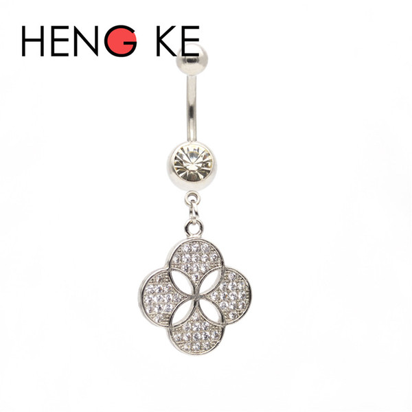 Four Leaf Clover Crystal Zircon Belly Bar Surgical Steel Clear CZ gems Dangle Navel Rings Button Body Piercing Jewelry shamrock