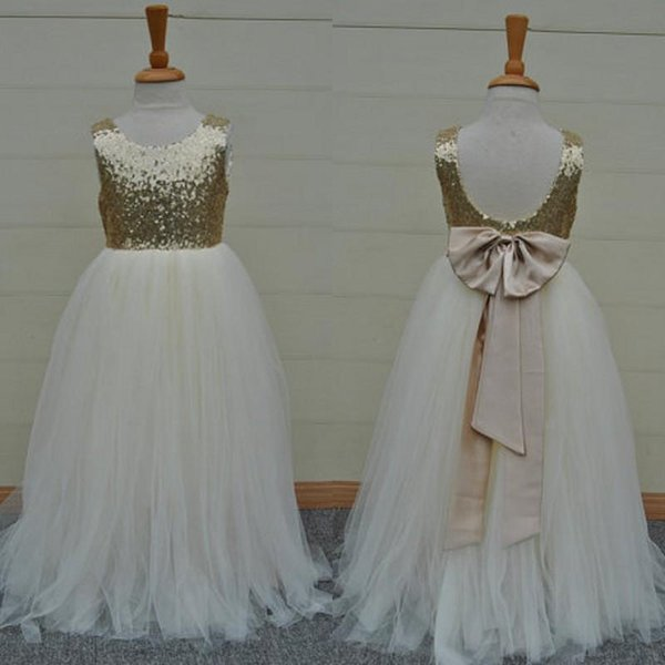 Real Sample High Quality Flower Girls Dresses Sparkly Gold Sequins Kids LongGirl's Pageant Dresses Gowns Sleeveless Open Back Bow Sash