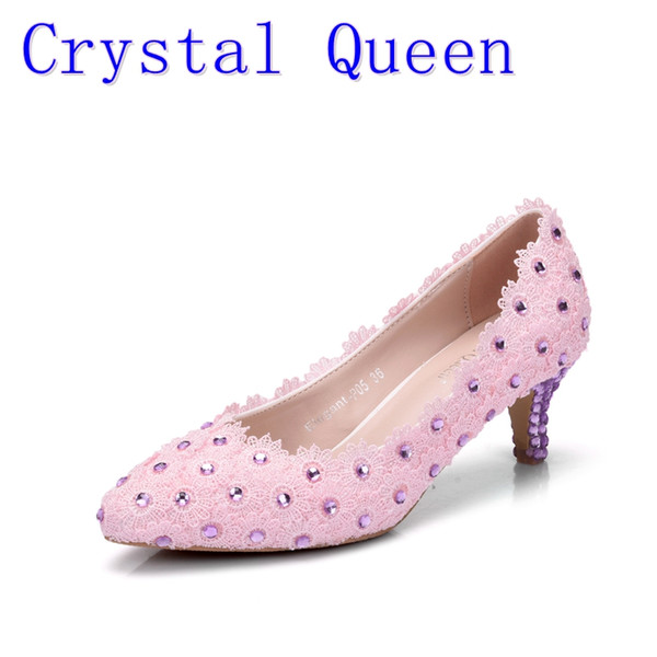 Crystal Queen Pumps Women Pink Fine Sequins Lace Flower Bride Wedding Shoes Pointed Shoes High Heels Purple Crystal Dress Shoes