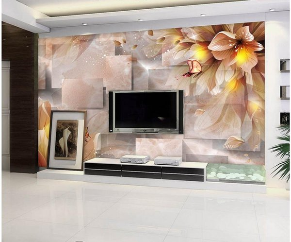 Home Decor Beautiful Fantasy Flower Butterfly Love TV Wall mural 3d wallpaper 3d wall papers for tv backdrop