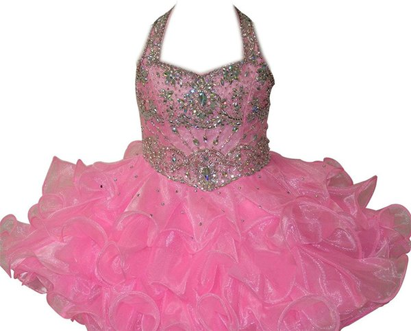 Baby Pink Girls Pageant Cupcake Dresses Infant Special Occasion Skirts Toddler Tutu Prom Party Dress Kids Short Starps Pageant Gowns