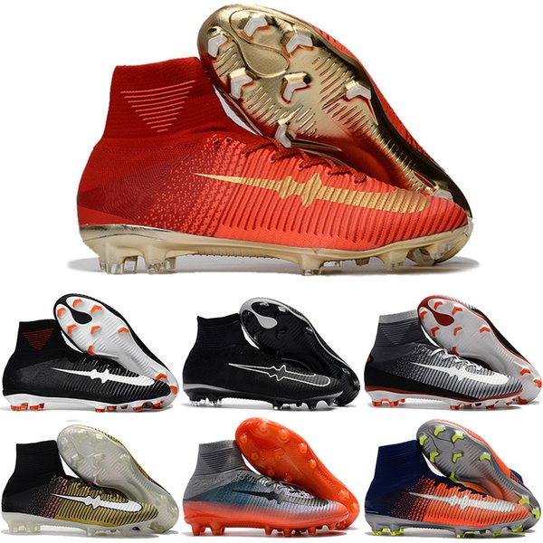 watch ff563 55996 Wholesale Cheap Football Shoes Mercurial Superfly V FG Men Original Cheap  Classic CR7 Soccer Boots Sports