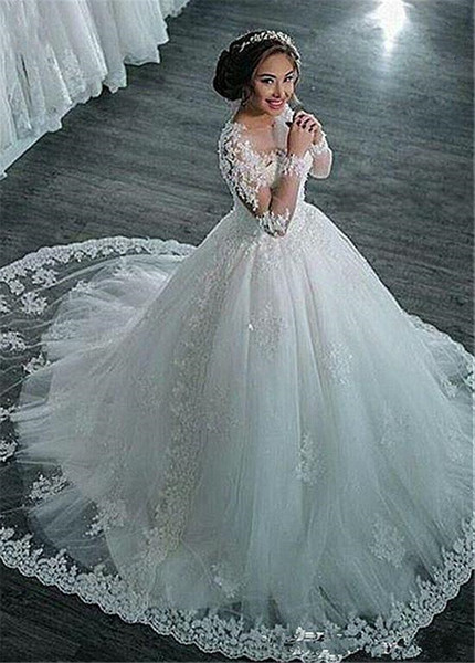 best selling Amazing Tulle Sheer Long Sleeves Jewel Neckline Ball Gown Wedding Dresses With Beaded Lace Appliques Bridal Gowns