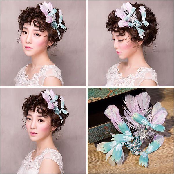 Woman headdress hair Lomen bride headdress feathers with diamond butterfly lace dress hair clip retro photo accessories 154114