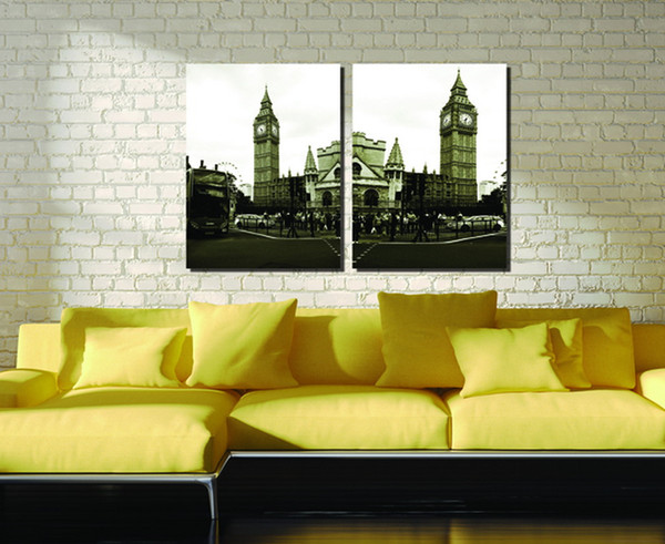 Top Fashion Special Offer Wholesale 2pcs Modular Picture City Impression England Big Ben Modern Decoration In The Living Room