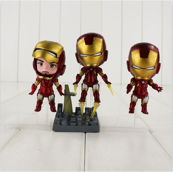 12-15cm 3pcs/set The Avengers Q Iron Man PVC Action Figure Toys for kids gift free shipping EMS
