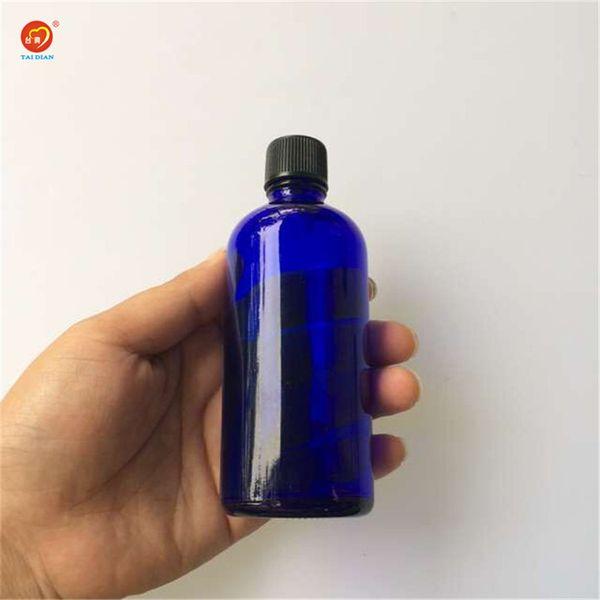 Wholesale 100ml Glass Large Liquid Bottles with Black Cap Sealing up Packing Liquid Bottles Perfume Jars 12pcs/lot