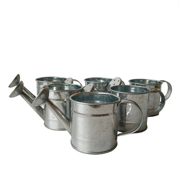 best selling Cheap Mini silvery color metal Water cans sharp pure easter egg pot tin pots Decorative watering cans wedding favor holders