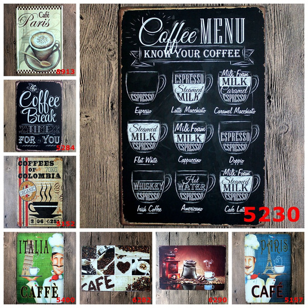 COFFEE CAFEE Nostalgic Ornaments Wall Decor Vintage Craft Art Iron Painting Tin Poster Cafe Shop Bar Home Decorate(Mixed designs)