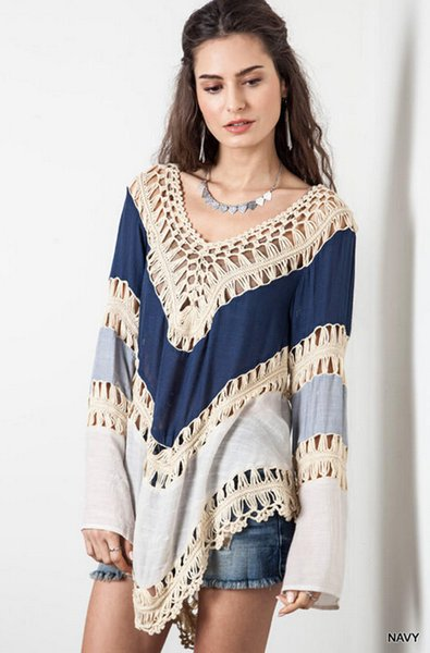 Woman Top Casual Summer Beach Tops Tees Deep V Neck Crochet Dress Hollow Out Swimwear Bikini Cover Up Lace Crochet Shirt